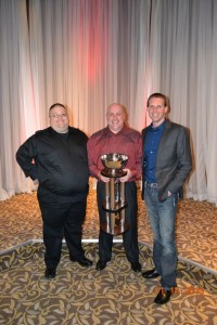Gregg Dalman with his team and the championship trophy. Top 11 in points. Tri-City Motor Speedway accepting the track of the year award. - Image courtesy of Kelli Mann
