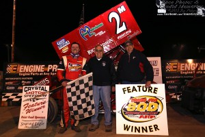 Dustin Daggett in victory lane. - Jennifer Peterson Photo