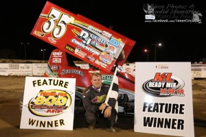 Ron Blair in victory lane at I-96 Speedway. - Jennifer Peterson Photo