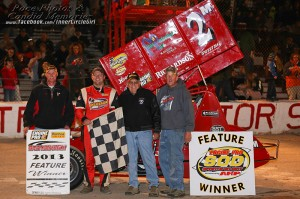 Dustin Daggett after winning the feature and championship at Tri-City Speedway. - Jennifer Peterson Photo