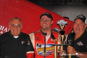 Dustin Daggett with car owner Phil Mott and Don DeWitt. - T.J. Buffenbarger Photo