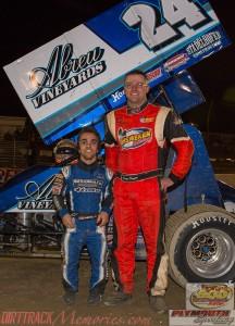 Feature winner Rico Abreu and 2014 Engine Pro Sprints on Dirt presented by ARP champion Dustin Daggett. - Jennifer Peterson Photo