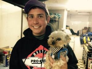 Ryan Ruhl and his dog Khan following his victory at Crystal Motor Speedway. (T.J. Buffenbarger Photo)