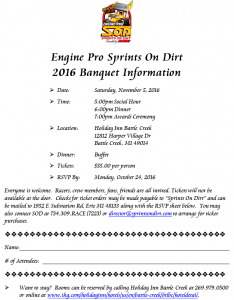 2016 Engine Pro Sprints On Dirt presented by ARP Awards Banquet Announced