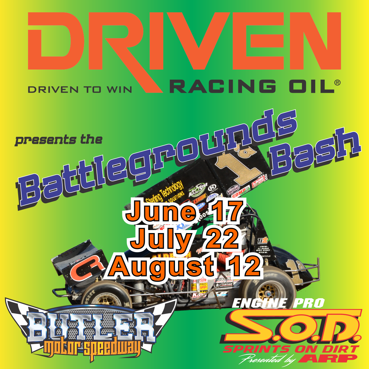 Driven Racing Oil Battlegrounds Bash Race #2 for SOD Saturday at Butler