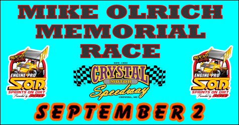 SOD at Crystal Motor Speedway Saturday for 4th Annual Mike Olrich Memorial