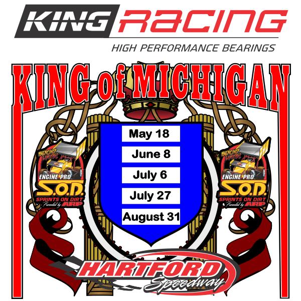 King Engine Bearings King of Michigan times five at Hartford for SOD